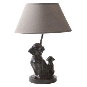 Lampe-Tischleuchte-Hund-braun-Dackel