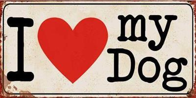 Blechschild-Vintage-Shabby-Chic-Retro-beige-Hund-Love-Herz