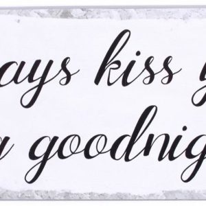 Blechschild-Vintage-Retro-Shabby chic-Hund-Kiss-Goodnight-grau-weiss