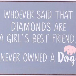 Blechschild-Vintage-Retro-Shabby Chic-Hund-Dog-Diamond-grau-weiss