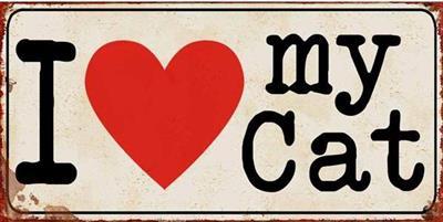Blechschild-Vintage-Retro-Shabby Chic-Katze-Love-Cat