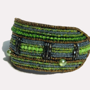 Perlenhalsband-Hundehalsband-Massai-Hund-grün-Glasperlen