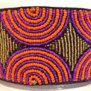 Perlenhalsband-Hundehalsband-Massai-Hund-lila-orange-gold-Glasperlen