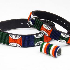 Perlenhalsband-Hundehalsband-luis-massai-orange-blau-grün-weiss-hund