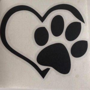 Abziehbild-Aufkleber-Herz-Pfote-Hund-Hundeliebhaber-Auto-schwarz