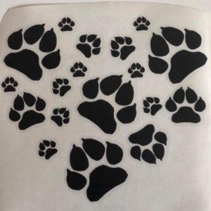 Abziehbild-Aufkleber-Pfoten-Herz-Hund-Hundeliebhaber-Auto-schwarz