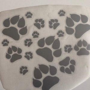 Abziehbild-Aufkleber-Pfoten-Herz-Hund-Hundeliebhaber-Auto-silber-reflektierend