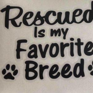 Abziehbild-Aufkleber-Rescued-Breed-Favorite-Hund-Hundeliebhaber-Auto-schwarz
