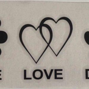 Abziehbild-Hundeliebhaber-Hundenarr-Peace-Love-Dogs-Hund-schwarz
