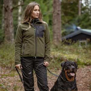 Arrak-Outdoor-Jacke-Fleece-Stretch-Hund-Hundebekleidung-Hundesport-Outdoorbekleidung-Stormy-Fleece-Women-Women-grau-oliv