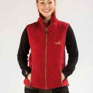 Arrak-Weste-Fleece-Damen-Outdoor-Bekleidung-Hundesport-Gartenarbeit-tailiert-rot