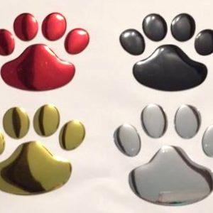 Aufkleber-Abziehbild-Pfoten-Pfoetchen-Auto-Hund-Hundeliebhaber-rot-scharz-silber-gold