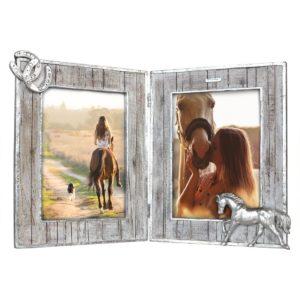 Bilderrahmen-Pferd-Vintage-Diptychon-Pferdeliebhaber-Geschenk-Horse-holzoptik