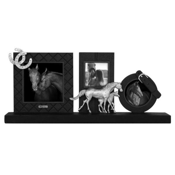 Bilderrahmen-Pferd-schwarz-silber-Vintage-Triptychon-Pferdeliebhaber-Geschenk-Horse