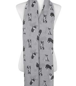 Border Collie-Schal-Hund-Animalprint-weich-kuschlig-warm-grau
