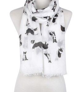 Border Collie-Schal-Hund-Animalprint-weich-kuschlig-warm-weiss