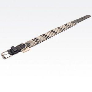 Collar-Peruvian-Buddys-Hundehalsband-geflochten-grau-schwarz-weiss- Peruvian black