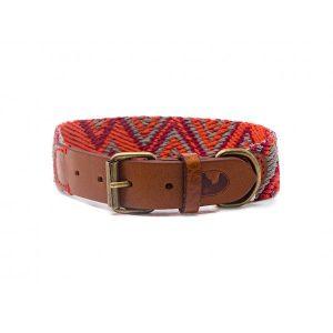 Collar-Peruvian-Buddys-Hundehalsband-geflochten-rot-orange-grau-Peruvian Pikes 1