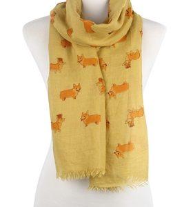 Schal-Corgie-Hund-gelb-Krone