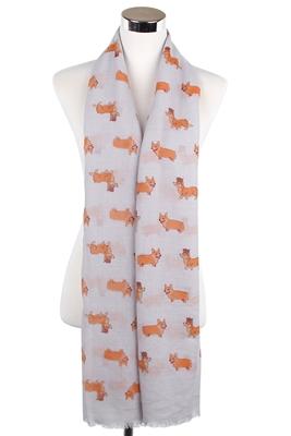 Corgie-Schal-Hundeschal-weich-kuschlig-grau