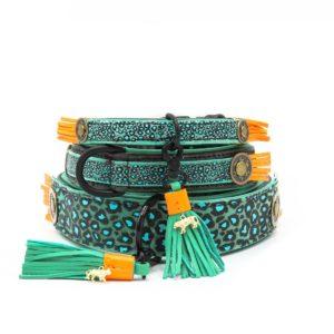 DWAM-Dog with a mission-Halsband-Collar-Blue Bird-Animalprint-Ibiza-Vintage-Hippie-trendig-Hund-Hundehalsband-gruen-rot-Leder.jpg