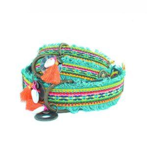 DWAM-Dog with a mission-Halsband-Collar-Dixie-Boho-Ibiza-Vintage-Hippie-trendig-Hund-Hundehalsband-gruen-rot-vegan