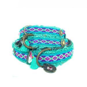 DWAM-Dog-with-a-mission-Halsband-Collar-Finn-Boho-Ibiza-Vintage-Hippie-trendig-Hund-Hundehalsband-gruen-rot-vegan