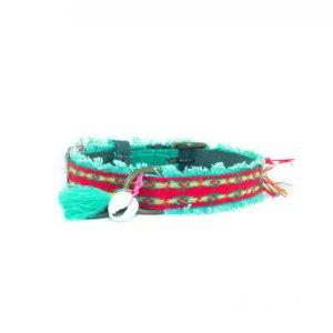 DWAM-Dog-with-a-mission-Halsband-Collar-Ruby-Boho-Ibiza-Vintage-Hippie-trendig-Hund-Hundehalsband-gruen-rot-vegan