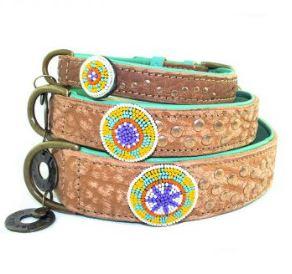 DWAM-Dog-with-a-mission-Halsband-Hundehalsband-Leder-Hippie-Boho-Ibiza-Phoenix-braun-Perlen-indianisch-weich-türkis