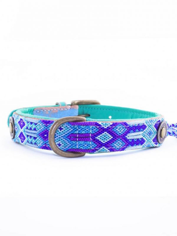 DWAM, Dog with a mission, Halsband, Hundehalsband, Leder, Hippie, Boho, Ibiza, blau