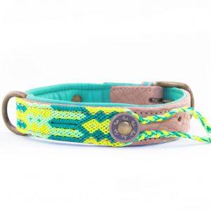 DWAM, Dog with a mission, Halsband, Hundehalsband, Leder, Hippie, Boho, Ibiza, cactus, gruen, hellgruen, gelb