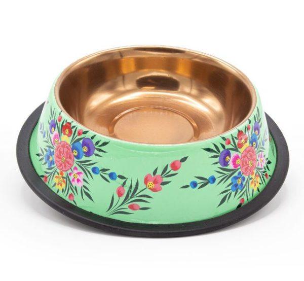 DWAM-Dog-with-a-mission-Hundehalsband-Hundenapf-Handbemalt-tuerkis-Blumen