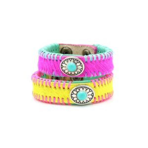 DWAM-dog with a mission-Lolly Pop-Cotton Candy-Armband-Leder-Partnerlook-pink-gelb