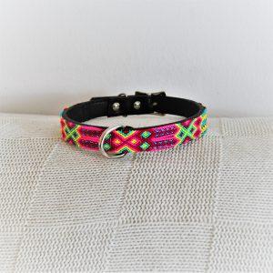 Flor-Heka Pet-Halsband-Boho-Ibiza-Hippie-farbig-Stylish-Hund-pink-gelb