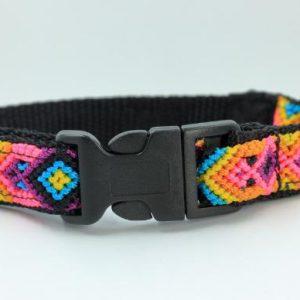 HEKA-PET-Ibizia-Style-Halsband-Hundehalsband-Mexiko-geflochten-Hand-Made-Clickverschluss-schwarzer-D-Ring-Vegan-braun-orange-gelb-schwarz-Loxa-s