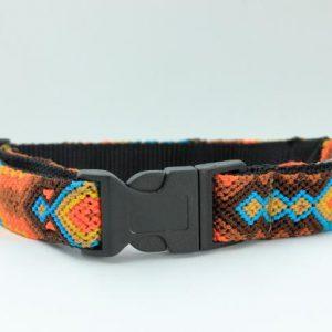 HEKA-PET-Ibizia-Style-Halsband-Hundehalsband-Mexiko-geflochten-Hand-Made-Clickverschluss-schwarzer-D-Ring-Vegan-braun-orange-gelb-schwarz-Maya
