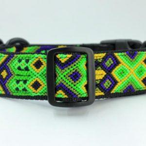 HEKA PET-Ibizia Style-Halsband-Hundehalsband-Mexiko-geflochten-Hand Made-Clickverschluss-schwarzer D-Ring-Vegan-grün-blau-gelb-Cactus- M