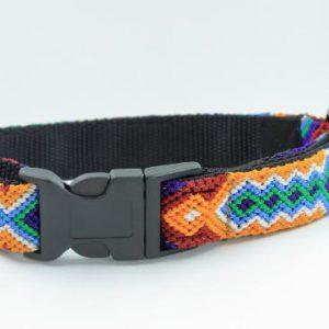 HEKA-PET-Ibizia-Style-Halsband-Hundehalsband-Mexiko-geflochten-Hand-Made-Clickverschluss-schwarzer-D-Ring-Vegan-grün-blau-weiss-schwarz-Navajo-S