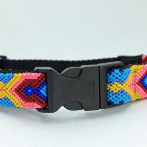 HEKA-PET-Ibizia-Style-Halsband-Hundehalsband-Mexiko-geflochten-Hand-Made-Clickverschluss-schwarzer-D-Ring-Vegan-grün-orange-weiss-schwarz-Briza-M