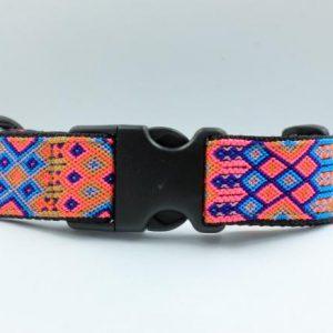 HEKA-PET-Ibizia-Style-Halsband-Hundehalsband-Mexiko-geflochten-Hand-Made-Clickverschluss-schwarzer-D-Ring-Vegan-pink-orange-weiss-schwarz-Coral-