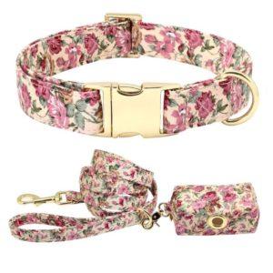 Halsband-Blumen-rosen-rosa-vintage-Hund-Hundeliebhaber-Leine-Gassibeutel-gold.JPG