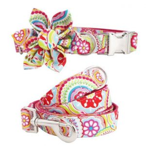 Halsband-Stoff-Gurtband-Metallschnalle-Blume-Masche-rosa-rosegold-hellblau-Hund-Hundeliebhaber3