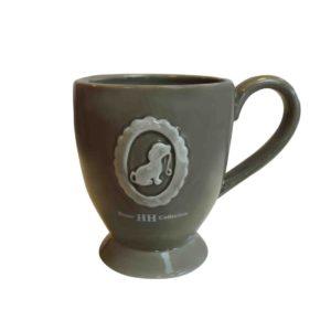 Happy House-Becher-Tasse-Mug-Hund-Hundemotiv-Hundeliebhaber-Teetrinker-Kaffetrinker-Shabby-Vintage-taupe