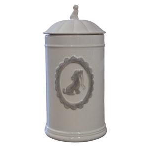 Happy House-Vorratsdose-Aufbewahrungsdose-Leckerlidose-Goodiedose-Keramik-Hundemotiv-Shabby-Vintage-weiss
