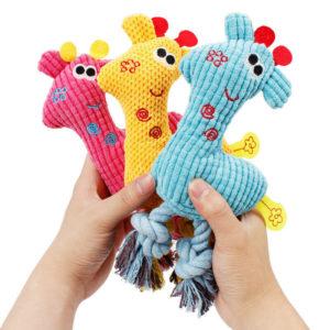 Hund-Hundespielzeug-Giraffe-blau-gelb-pink-Spass-Quiecker