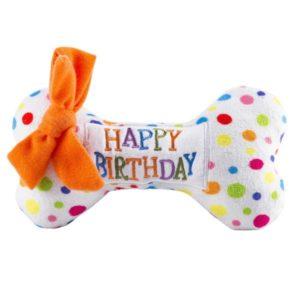 Hund-Hundespielzeug-Knochen-Happy Birthday-Quietscher