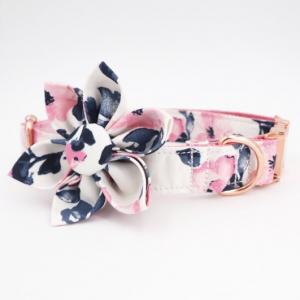 Hundehalsband-Halsband-Hund-Stoff-Gurtband-Clickverschluss-rosegold-Bluete-komfortabel-extravagant1