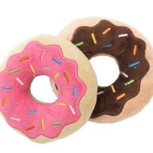 Hundespielzeug-Donut-Hund-Spielen-Spass-suess-Quiecker-braun-pink-blau-gruen