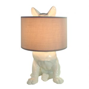 Lampe-Franzoesische Bulldogge-weiss-Frenchie-Hund
