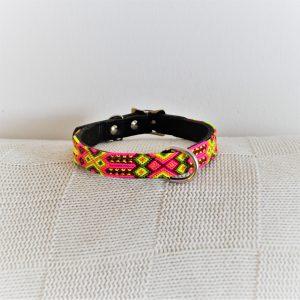 Mariposa-Heka Pet-Halsband-Boho-Ibiza-Hippie-farbig-Stylish-Hund-pink-gelb
